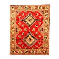 Handmade Herat Oriental Afghan Tribal Kazak Red/ Beige Wool Rug (Afghanistan) - 6'3 x 8'1