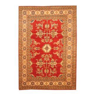 Herat Oriental Afghan Hand-knotted Tribal Kazak Red/ Beige Wool Rug (6'3 x 9')