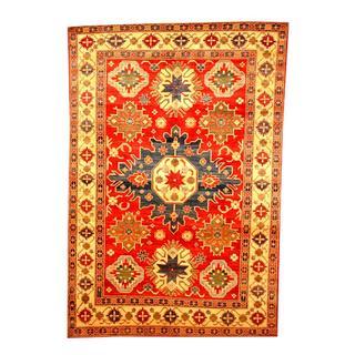 Herat Oriental Afghan Hand-knotted Tribal Kazak Red/ Beige Wool Rug (6'6 x 9'7)