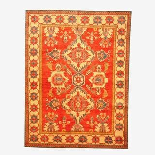 Herat Oriental Afghan Hand-knotted Tribal Kazak Red/ Tan Wool Rug (6'3 x 8'3)