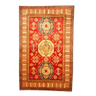 Herat Oriental Afghan Hand-knotted Tribal Kazak Red/ Tan Wool Rug (6'6 x 10'1)