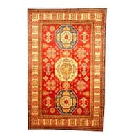 Herat Oriental Afghan Hand-knotted Tribal Kazak Red/ Tan Wool Rug (6'6 x 10'1) - 6'6 x 10'1