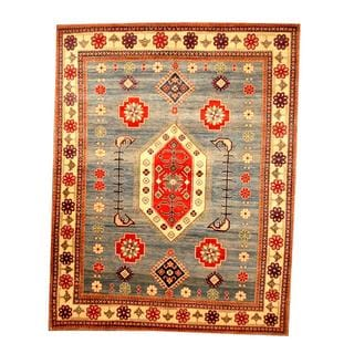 Herat Oriental Afghan Hand-knotted Tribal Kazak Blue/ Ivory Wool Rug (6'8 x 8'6)