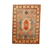 Herat Oriental Afghan Hand-knotted Tribal Kazak Light Blue/ Beige Wool Rug - 6'5 x 9'1