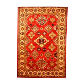 Herat Oriental Afghan Hand-knotted Tribal Kazak Red/ Tan Wool Rug (6'3 x 9'2)