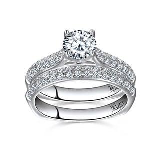 Valina Designer 14k White Gold 1 1/2ct TDW Pave Round-cut Bridal Set (F-G, SI1-SI2)