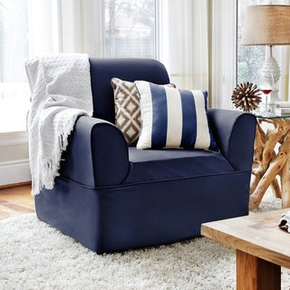 QuickCover Twill One-piece Chair Relaxed Fit Wrap Slipcover