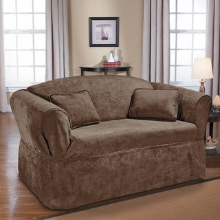 QuickCover Luxury Suede One-piece Relaxed Fit Wrap Sofa Slipcover
