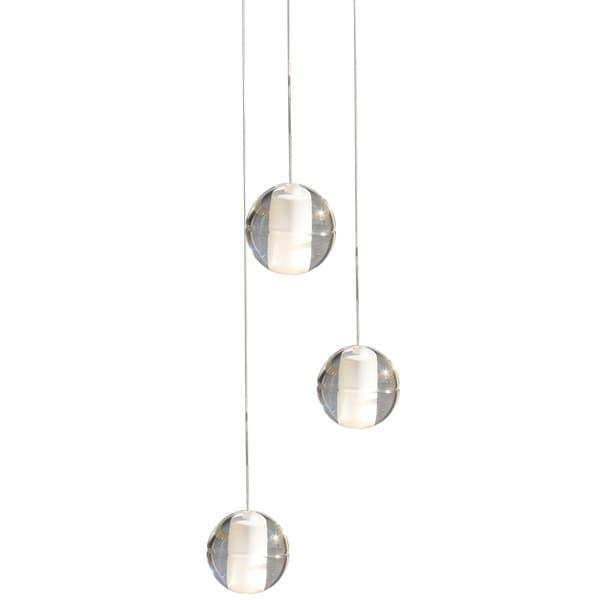 Suspended 3 Light Glass Globe Bubble Pendant Chandelier