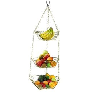 Sweet Home Collection Chrome Finished 3-tier Hanging Basket