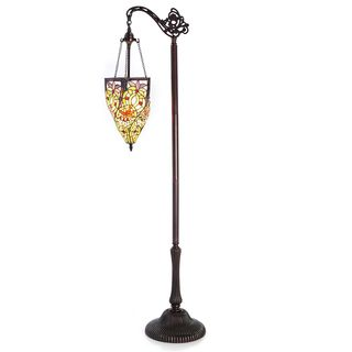 Tiffany style hercules stained glass floor lamp free for Overstock tiffany floor lamp