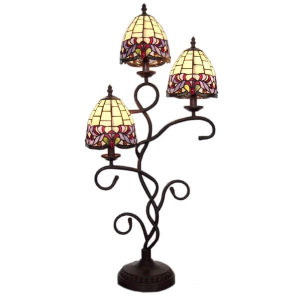tiffany style three shade table lamp free shipping today overstock. Black Bedroom Furniture Sets. Home Design Ideas