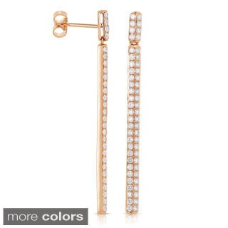 Eloquence 14k Rose or Yellow Gold 1 2/5ct TDW Diamond Linear Drop Earrings
