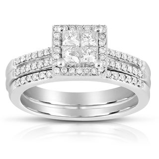 Eloquence 10k White Gold 3/4ct TDW Diamond Bridal Ring Set