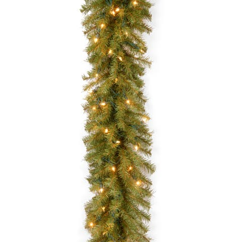 """9' x 12"""" Norwood Fir Garland with 100 Clear Lights"""