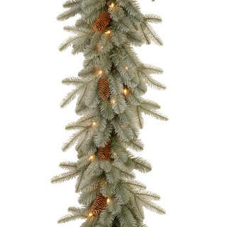 "9' x 12"" ""Feel Real"" Frosted Arctic Spruce Garland 50 Clear Lights"