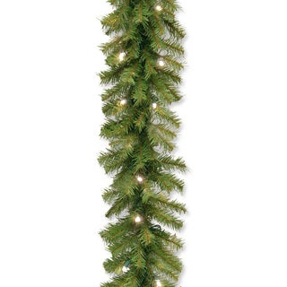 "9' x 10"" Norwood Fir Garland with 50 Battery Operated Soft White LED Lights"