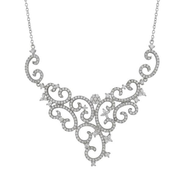 Luxiro Sterling Silver Cubic Zirconia Wedding and Bridal Filigree Bib Necklace