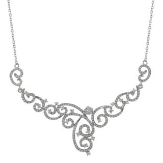 Luxiro Sterling Silver Cubic Zirconia Filigree Statement Bridal Bib Necklace