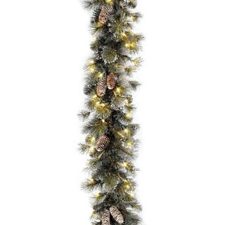 "9' x 10"" Glitter Pine Garland with 100 Clear Lights"