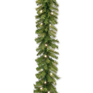 "9' x 10"" Norwood Fir Garland with 50 Concave Soft White LED Lights"