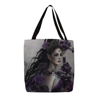 Lirielle' Purple and Grey Canvas Print Tote