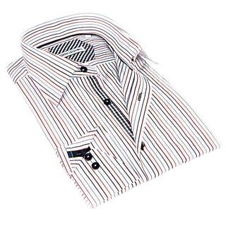 John Lennon Men's White and Beige Striped Sport Shirt