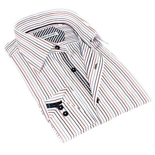 John Lennon Men's White and Beige Striped Sport Shirt