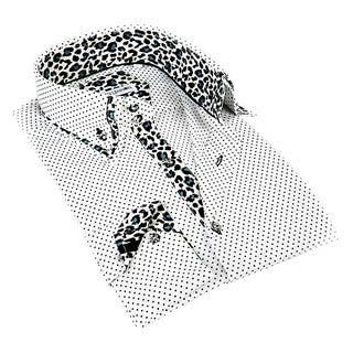 John Lennon Men's White and Leopard Contrast Sport Shirt