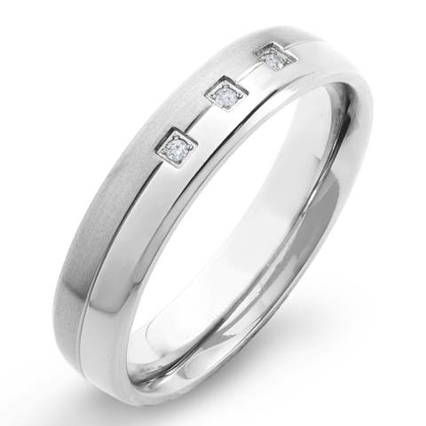 Crucible Dual Finish Titanium 1/20 CTTW Diamond Accent Grooved Comfort Fit Ring - 5mm Wide