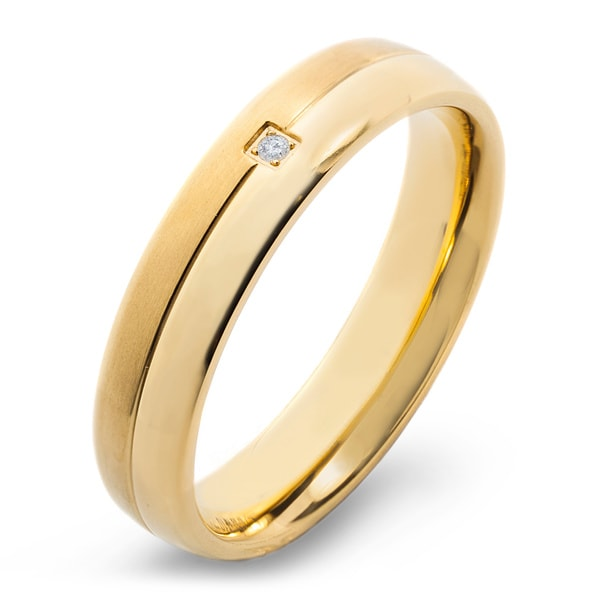 Crucible Men's Gold Plated Dual Finish Titanium 0.02ct. TW Diamond Grooved 5mm Wide Comfort Fit Band