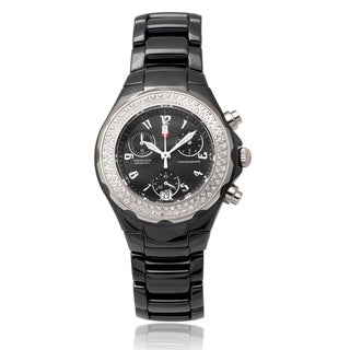 Michele Ceramic 'Tahitian' 1/2 TDW Diamond Chronograph Watch (I-J, I1-I3)