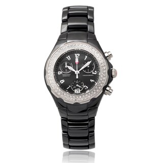Michele Women's Ceramic 'Tahitian' 1/2 TDW Diamond Chronograph Watch (I-J, I1-I3)