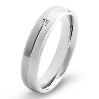 Crucible Dual Finish Titanium 0.02 CTTW Diamond Comfort Fit Ring (5mm) - White