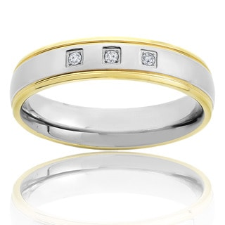 Crucible Two Tone Polished Titanium 1/20 CTTW Diamond Accent Grooved Comfort Fit Ring - 5mm Wide
