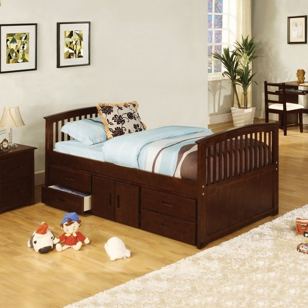 Furniture of America Anlu Traditional Walnut Twin Captain Bed