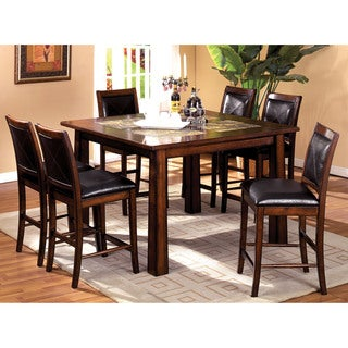 Furniture of America Walwick Tobacco Oak 7-Piece Counter Height Dining Set