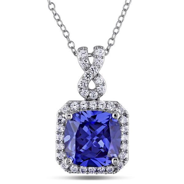 Miadora Sterling Silver Created Tanzanite and White Sapphire Necklace