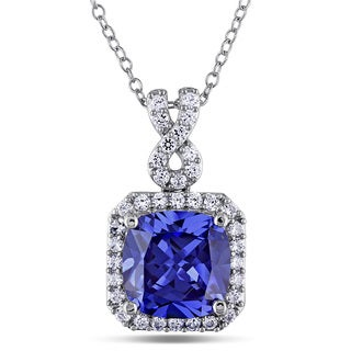 Miadora Sterling Silver Created Tanzanite and White Sapphire Necklace