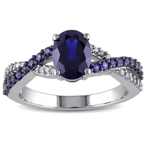 Miadora 10k White Gold Created Blue Sapphire and 1/10ct TDW Diamond Ring (H-I, I2-I3)