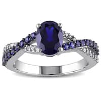 Miadora 10k White Gold Created Blue Sapphire and 1/10ct TDW Diamond Ring (H-I, I2-I3)