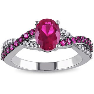 Miadora 10k White Gold Created Ruby and 1/10ct TDW Diamond Ring (H-I, I2-I3)