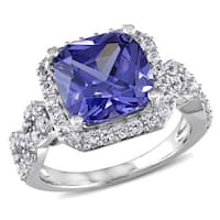 Miadora Sterling Silver Created White Sapphire and Tanzanite Cocktail Ring