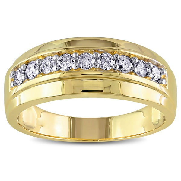 Miadora 10k Yellow Gold Men X27 S 1 2ct Tdw Diamond Wedding Band
