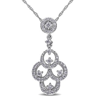 Miadora 10k White Gold 1/3ct TDW Diamond Necklace