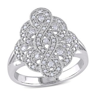 Miadora Sterling Silver 1/4ct TDW Diamond Cocktail Ring