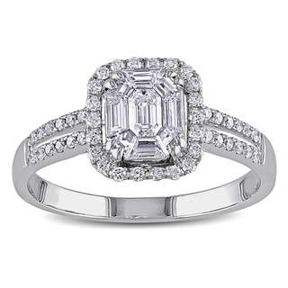 Miadora Signature Collection 18k White Gold 3/4ct TDW Diamond Engagement Ring