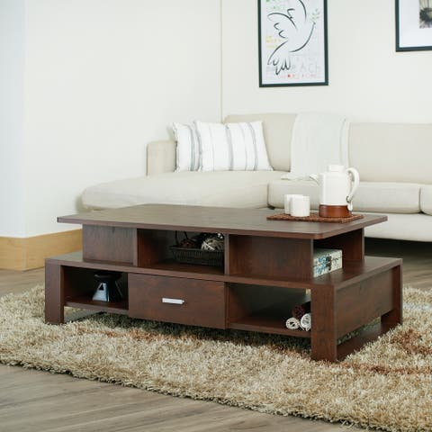 Furniture of America Meine Vintage Walnut Cut-Out Coffee Table