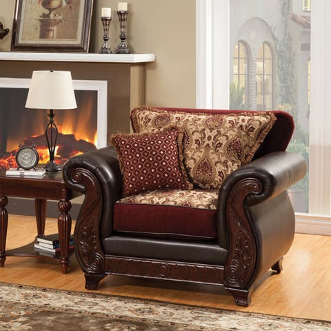 Furniture of America Corz Traditional Faux Leather Padded Armchair