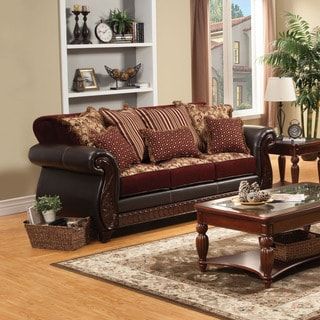 Furniture of America Franchesca Traditional Style Fabric and Leatherette Sofa
